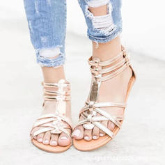Microfiber Leather Flat Heel Sandals With Others shoes