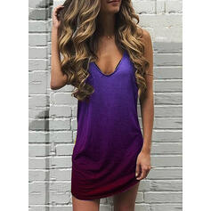 Gradient Sleeveless Shift Above Knee Casual/Vacation Tank Dresses