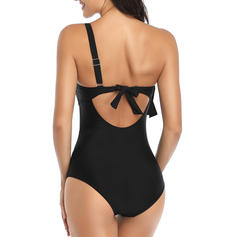 Solid Color Mesh One-Shoulder Sexy One-piece Swimsuits