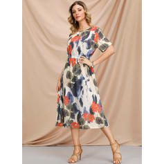 Print/Floral 1/2 Sleeves A-line Knee Length Casual Skater Dresses