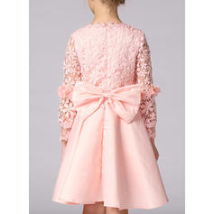 Girls Round Neck Solid Lace Cute Flower Girl Dress