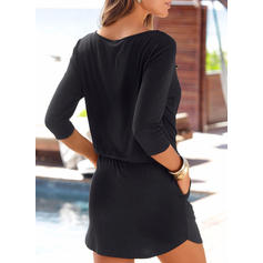 Solid 3/4 Sleeves Sheath Above Knee Little Black/Casual Dresses