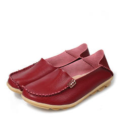 Women's Real Leather Flat Heel Flats With Ruched shoes