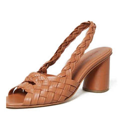 Women's PU Chunky Heel Pumps With Braided Strap shoes