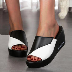 Women's PU Wedge Heel Sandals Platform Wedges Peep Toe Slippers With Hollow-out Splice Color shoes