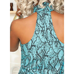 Print Stand collar Sleeveless Tank Tops