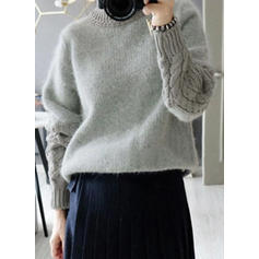 Cable-knit Chunky knit Crew Neck Casual Tight Sweaters