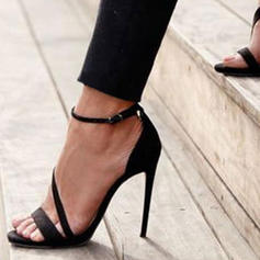 Women's PU Stiletto Heel Sandals Pumps With Buckle Solid Color shoes