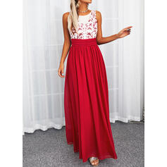 Print/Backless Sleeveless A-line Skater Party Maxi Dresses