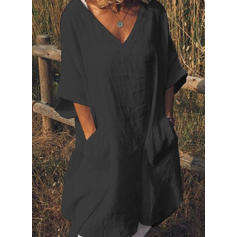 Solid 1/2 Sleeves Shift Knee Length Little Black/Casual/Vacation Tunic Dresses
