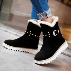 Women's Suede Flat Heel Snow Boots Round Toe Winter Boots With Rivet Buckle shoes