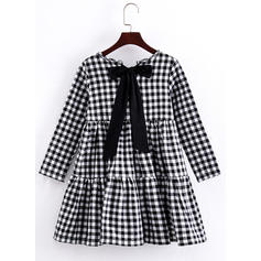 Girls Round Neck Plaid Bow Casual Cute Dress