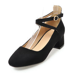 Women's Suede Low Heel Closed Toe With Buckle shoes
