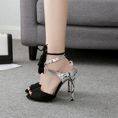 Women's PU Stiletto Heel Sandals Pumps Peep Toe With Lace-up shoes