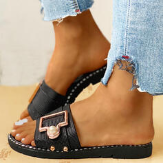 Women's PVC Flat Heel Sandals Slippers With Rhinestone Imitation Pearl Buckle shoes