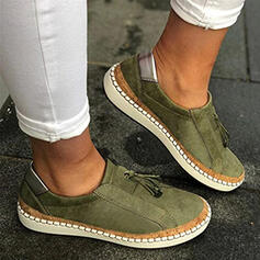 Women's Canvas Flat Heel Flats Low Top Round Toe Loafers Slip On With Lace-up Splice Color shoes