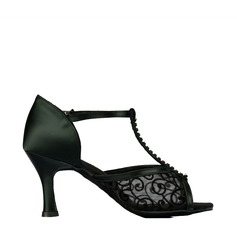 Women's Latin Heels Sandals Satin Lace With T-Strap Latin