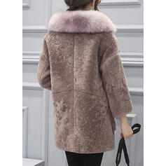 Long Sleeves Solid Faux Fur Coats