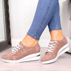 Women's PU Wedge Heel Closed Toe Wedges With Lace-up shoes