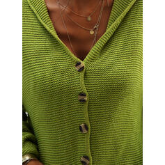 Polyester Long Sleeves Solid Pocket Chunky knit