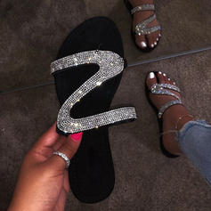 Women's PVC Flat Heel Sandals Flats Slippers With Beading shoes