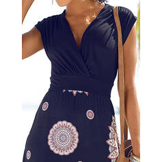 Print Short Sleeves A-line Above Knee Casual/Vacation Skater Dresses