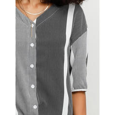 Color Block Striped V-Neck 1/2 Sleeves Button Up Casual Blouses