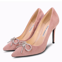 Women's Suede Stiletto Heel Closed Toe Pumps With Bowknot