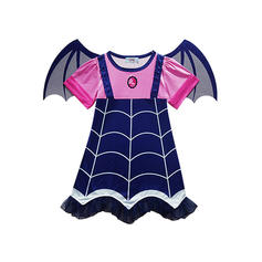 Girls Round Neck Print Casual Party Dress