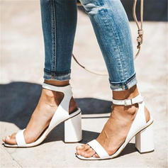 Women's PU Chunky Heel Sandals Pumps Peep Toe With Sparkling Glitter shoes