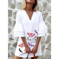 Animal Print 3/4 Sleeves/Flare Sleeves Shift Above Knee Casual Dresses