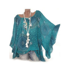 Print Round Neck Batwing Sleeve 3/4 Sleeves Casual Blouses