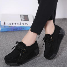Women's Suede Wedge Heel Platform Closed Toe Wedges With Lace-up shoes