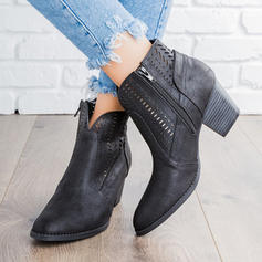 Women's PU Chunky Heel Pumps Boots Ankle Boots With Hollow-out shoes