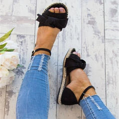 Women's Leatherette Flat Heel Sandals Flats Peep Toe With Buckle shoes