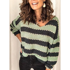 Color Block Striped Chunky knit V-Neck Casual Sweaters