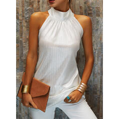 Solid Stand collar Sleeveless Tank Tops