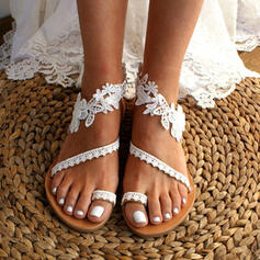 Women's Leatherette Flat Heel Sandals Toe Ring With Applique Stitching Lace Flower shoes