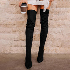 Women's Suede Stiletto Heel Over The Knee Boots Pointed Toe With Lace-up Solid Color shoes