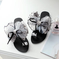PU Flat Heel Sandals Flats Slippers Toe Ring With Bowknot shoes