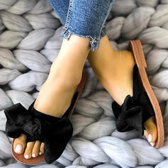 Women's Suede Flat Heel Sandals Flats Peep Toe Slippers With Bowknot shoes