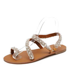 PU Flat Heel Sandals Toe Ring With Imitation Pearl shoes