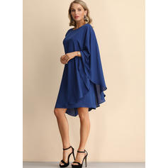 Solid Short Sleeves Shift Knee Length Casual/Party Dresses