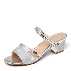 Women's Sparkling Glitter Low Heel Peep Toe Sandals Slingbacks