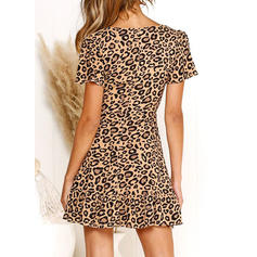 Leopard Short Sleeves A-line Above Knee Casual Dresses