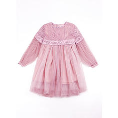 Girls Round Neck Solid Casual Cute Dress