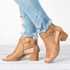 Women's PU Chunky Heel Ankle Boots With Buckle shoes