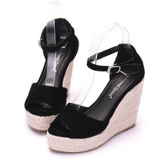 Women's Velvet Wedge Heel Peep Toe Platform Wedges
