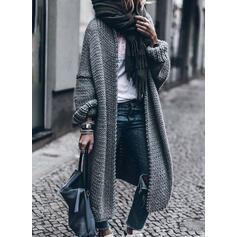 Solid Casual Long Sweaters