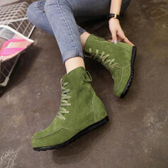 Women's Fabric Flat Heel Boots With Lace-up shoes